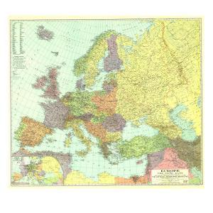 1929 Europe, and the Near East Map by National Geographic Maps