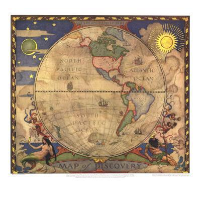 1929 Map of Discovery, Western Hemisphere by National Geographic Maps