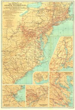 1932 Travels of George Washington Map by National Geographic Maps