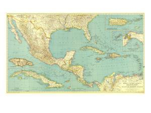 1934 Mexico, Central America and the West Indies Map by National Geographic Maps