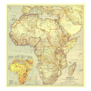 1935 Africa Map by National Geographic Maps
