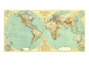 1935 World Map by National Geographic Maps