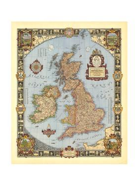 1937 A Modern Pilgrim's Map of the British Isles by National Geographic Maps