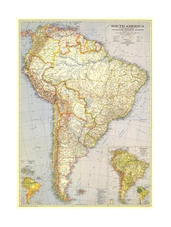 1937 South America Map by National Geographic Maps