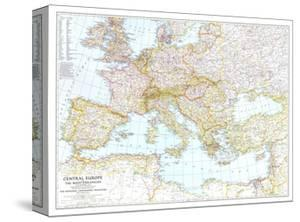 1939 Central Europe and the Mediterranean Map by National Geographic Maps