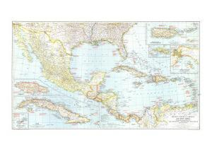 1939 Mexico, Central America and the West Indies Map by National Geographic Maps