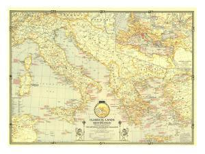 1940 Classical Lands of the Mediterranean Map by National Geographic Maps
