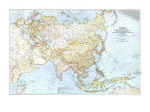 1942 Asia, and Adjacent Areas Map by National Geographic Maps