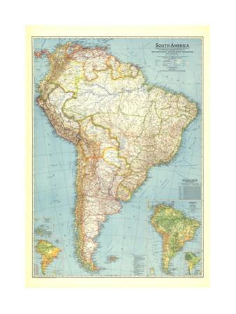 1942 South America Map by National Geographic Maps