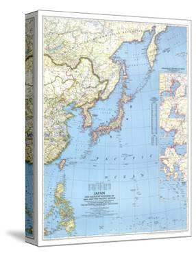 1944 Japan and Adjacent Regions of Asia and the Pacific Ocean Map by National Geographic Maps