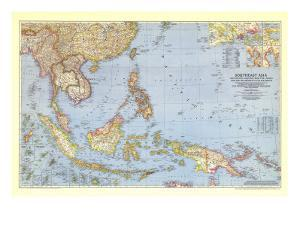 1944 Southeast Asia and the Pacific Islands Map by National Geographic Maps