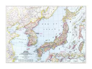 1945 Japan and Korea Map by National Geographic Maps
