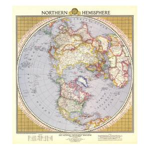 1946 Northern Hemisphere Map by National Geographic Maps