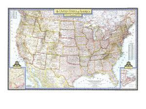 1946 United States of America Map by National Geographic Maps