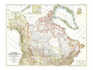 1947 Canada, Alaska and Greenland Map by National Geographic Maps