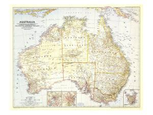 1948 Australia Map by National Geographic Maps