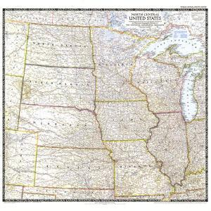 1948 North Central United States Map by National Geographic Maps