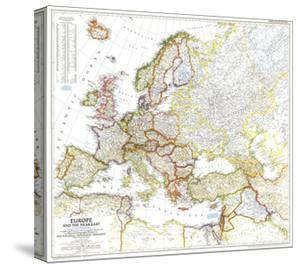 1949 Europe and the Near East Map by National Geographic Maps