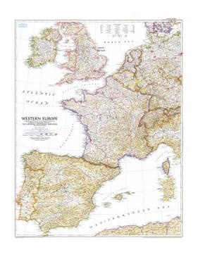 1950 Western Europe Map by National Geographic Maps