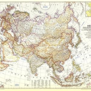 1951 Asia and Adjacent Areas Map by National Geographic Maps