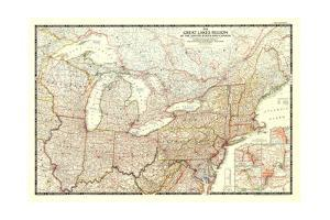 1953 The Great Lakes Region of the United States and Canada by National Geographic Maps