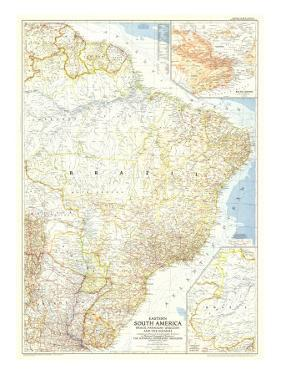1955 Eastern South America Map by National Geographic Maps