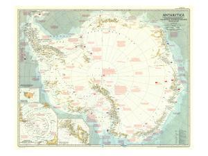 1957 Antarctica Map by National Geographic Maps