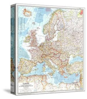1957 Europe Map by National Geographic Maps