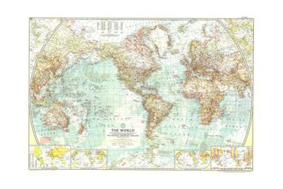 1957 World Map by National Geographic Maps