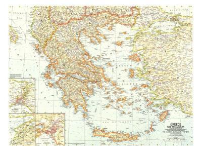 1958 Greece and the Aegean Map by National Geographic Maps