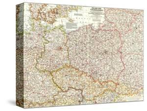 1958 Poland and Czechoslovakia Map by National Geographic Maps