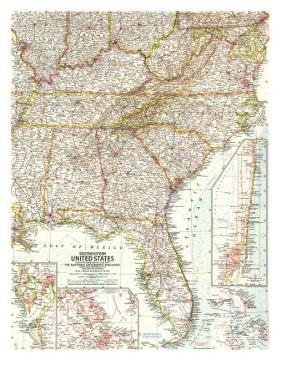 1958 Southeastern United States Map by National Geographic Maps