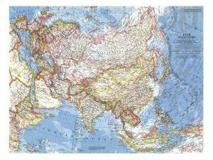 1959 Asia and Adjacent Areas Map by National Geographic Maps