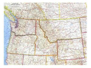 1960 Northwestern United States Map by National Geographic Maps
