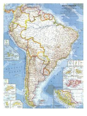 1960 South America Map by National Geographic Maps