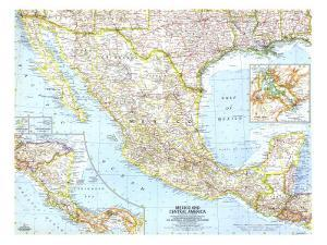 1961 Mexico and Central America Map by National Geographic Maps