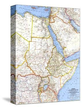 1963 Africa, Countries of the Nile Map by National Geographic Maps