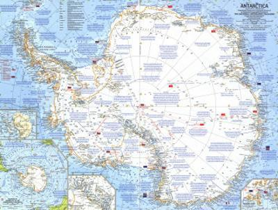1963 Antarctica Map by National Geographic Maps