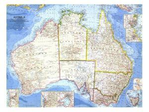 1963 Australia Map by National Geographic Maps