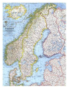 1963 Scandinavia Map by National Geographic Maps