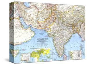 1963 Southwest Asia Map by National Geographic Maps