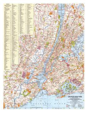 1964 Greater New York Map by National Geographic Maps