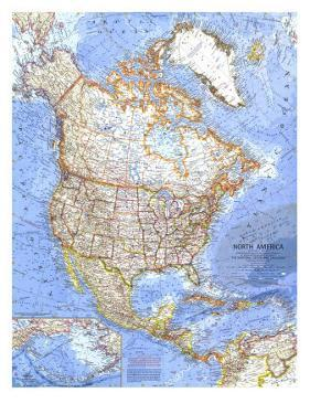 1964 North America Map by National Geographic Maps