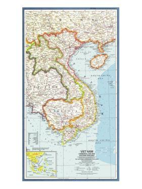 1965 Vietnam, Cambodia, Laos and Eastern Thailand Map by National Geographic Maps
