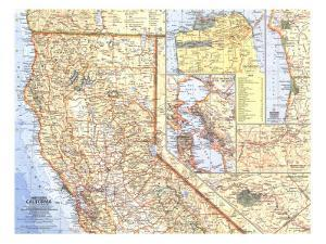 1966 Northern California Map by National Geographic Maps