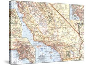 1966 Southern California Map by National Geographic Maps
