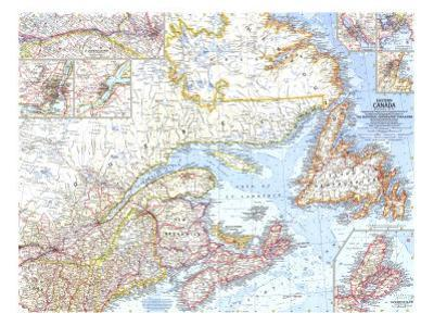 1967 Eastern Canada Map by National Geographic Maps