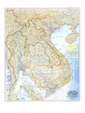 1967 Vietnam, Cambodia, Laos, and Thailand Map by National Geographic Maps