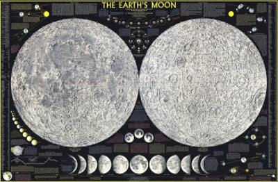 1969 Earths Moon Map by National Geographic Maps