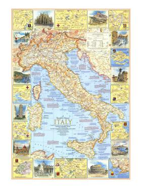 1970 Travelers Map of Italy by National Geographic Maps